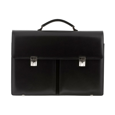 Large-sized leather briefcase (double pocket), in a variety of colors