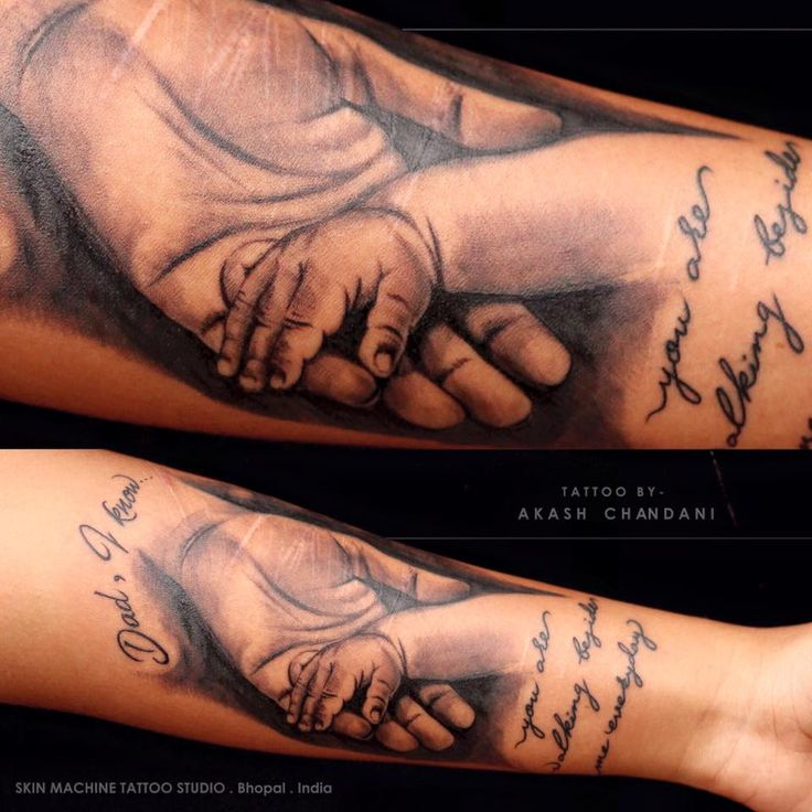 """She lost her DAD at the shockingly young age,So She got a tattoo to honor his memory... Written """" Dad, I know.. You're walking beside me everyday""""   Tattoo done by Akash Chandani  (Cover up of cut marks on hand) Hope you guys like this too :) ... See More — at Skin Machine Tattoo Studio, 10 No."""