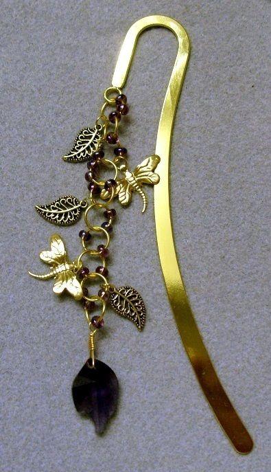Large gold plated purple crystal leaf bookmark