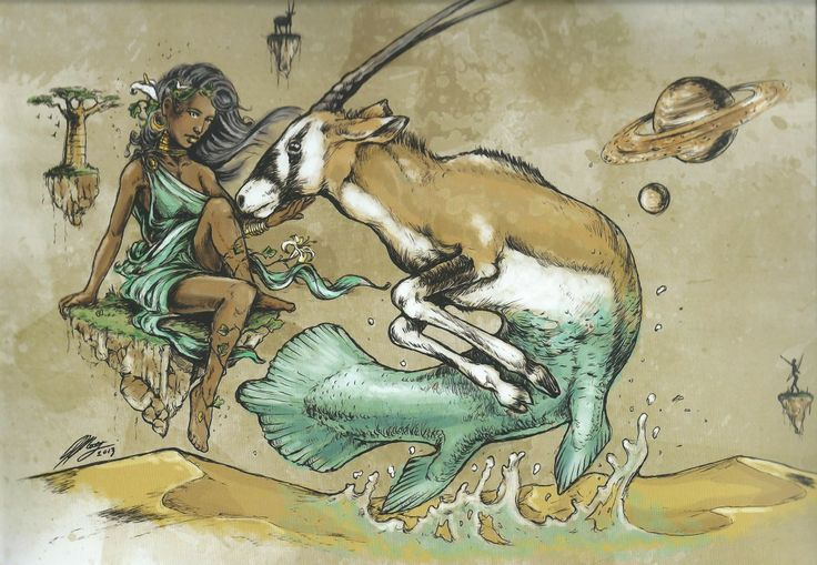 CAPRICORN - African Zodiac from 2014 Art Publishers Calendar Illustrations by Blue Ocean Design