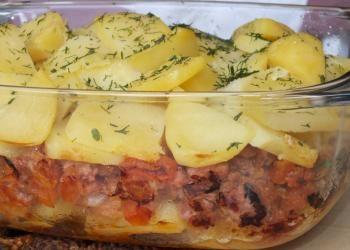 1-2 kg ziemniaków-starte na grubych oczkach tarki lub plastry  -wymieszać z:   2 jajka  +   2 łyżki mąki   +  1 duża cebula-w kostkę ,zeszklona+    2-3 ząbki czosnku -przez praskę + przyprawy....   6 dużych pieczarek-w plasterki     ser żółty-starty na tarce     boczek wędzony, najlepiej w plastrach     bułka tarta   (  przyprawy: pieprz, sól,  papryka, kolendra, bazylia, czosnek granulowany, majeranek )    trochę oleju lub margaryny do wysmarowania naczynia-50min,220 stopni