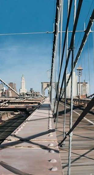 Richard Estes - The Brooklyn Bridge, 1993, oil on...