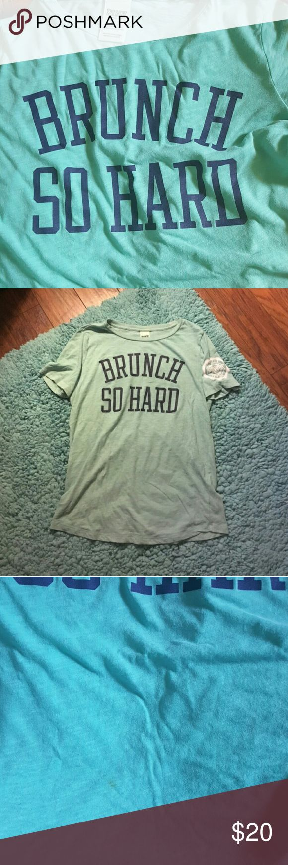VS PINK Brunch So Hard tshirt Paid via P ay Pal  $17 shipped   Minor stain shown, not noticeable when worn or from far. Tag says xsmall could fit small PINK Victoria's Secret Tops Tees - Short Sleeve