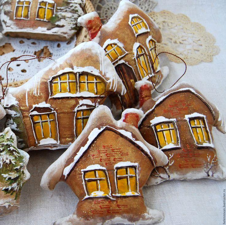 Купить Кофейные домики. - бежевый, текстильное украшение, украшение интерьера, кофейный домик, кофейная игрушка