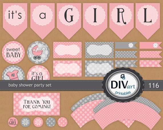 PRINTABLE Party Set - Party Tags, Food Labels, Place Cards, Cupcake Wraps, Party Circles, Party Banner - polkadots, pink and gray by DIVart