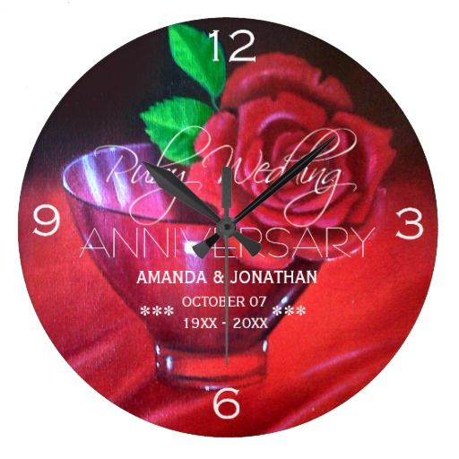 40th Ruby Wedding Anniversary Red Rose Clock