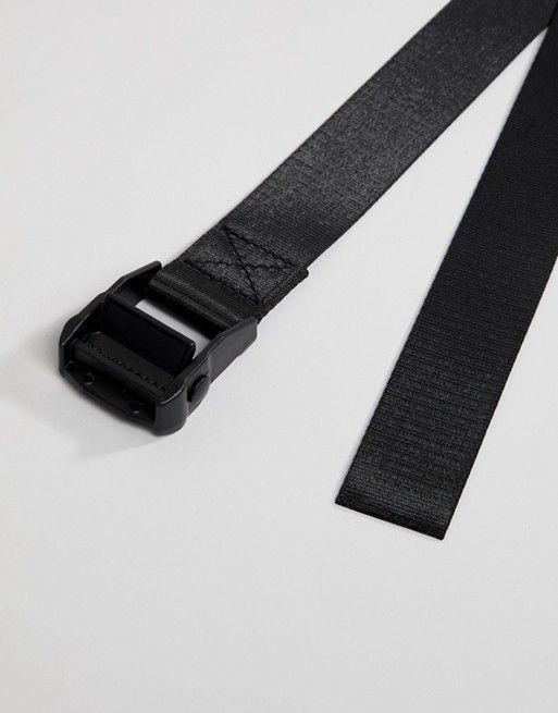 150119c7162db ASOS DESIGN   ASOS DESIGN long ended belt in black with matte black buckle