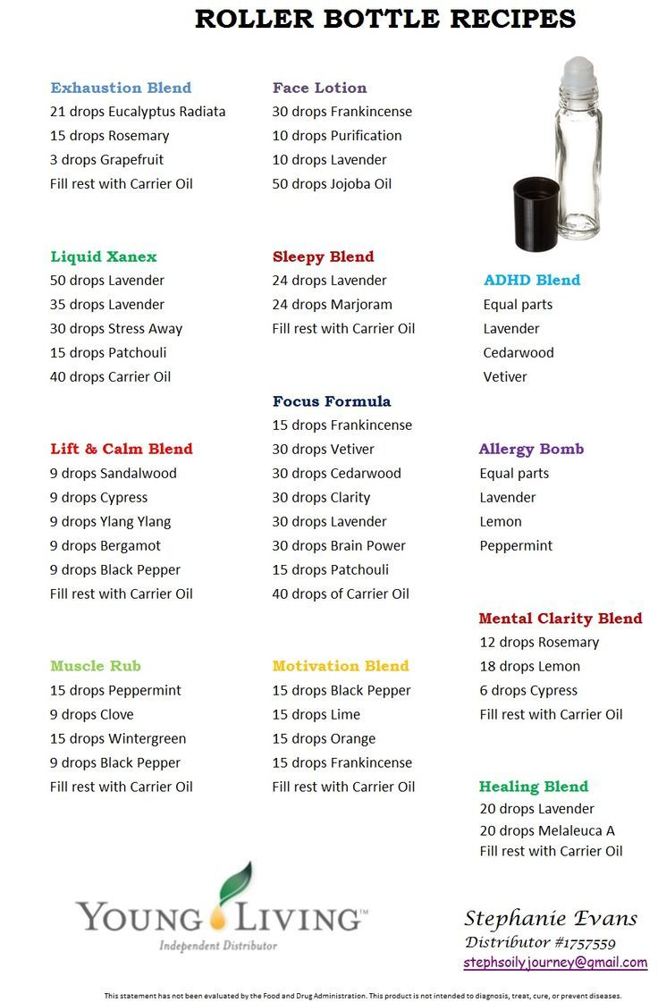 Essential Oils Recipes allergy, focus, sleep, calm, xanex, ADHD... Young Living roller bottle recipes - Google Search                                                                                                                                                      More