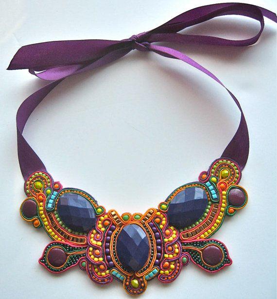 BUTTERFLY EFFECT soutache  statement necklace by BlackMarketJewels, £65.00