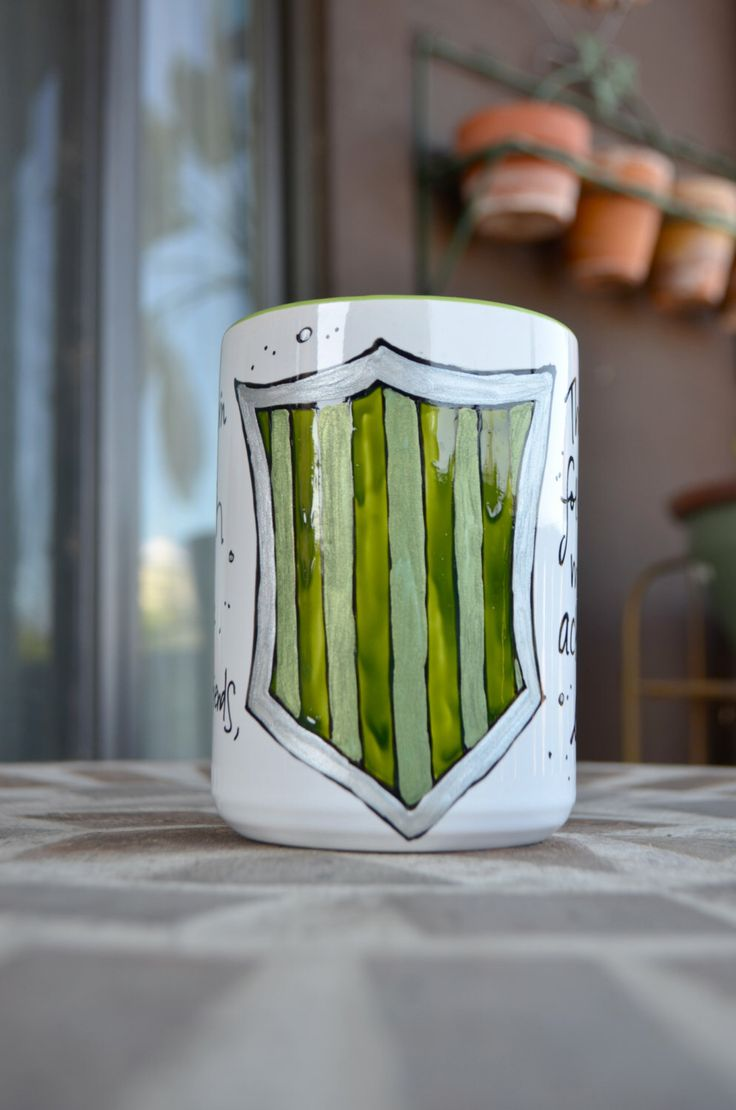 Made to Order - Slytherin House Cup - Hogwarts Houses - White, green, silver - Pottermore - Harry Potter - Cunning, shrewd - Crest by OpheliasGypsyCaravan on Etsy https://www.etsy.com/ca/listing/231422809/made-to-order-slytherin-house-cup