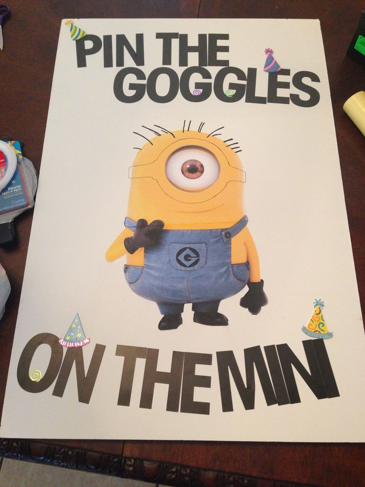 Pin the goggles on the minion despicable me birthday party. Didnt have room for the last two letters :\ but kids love it.