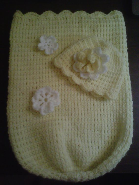 #Crochet How to Step by step instructions for easy baby cocoon. Only 3 stitches needed. It works up quick and easy and makes a great baby shower gift. Also, ...