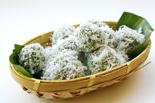 Klepon is a typical Indonesian desert, popular in Indonesia and Malaysia. It's a traditional steamed rice cake, stuffed with gula jawa (palm sugar), and rolled in grated coconut. It's absolutely delicious! Well, at least for me. ^^