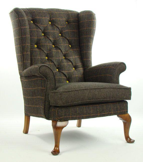 Vintage Parker Knoll Armchair Harris Tweed Wool by JustinaDesign, £625.00