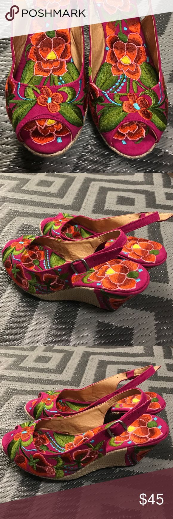 "💋New Embroidered Platforms Mexican Floral Boho Brand new, beautiful floral embroidery! One-of-a-Kind unique design handcrafted in Mexico. Imported. 3 1/4"" tall and 1"" tall in the front. Size 8. More sizes available check my other listings! Cielito Lindo  Shoes Platforms"