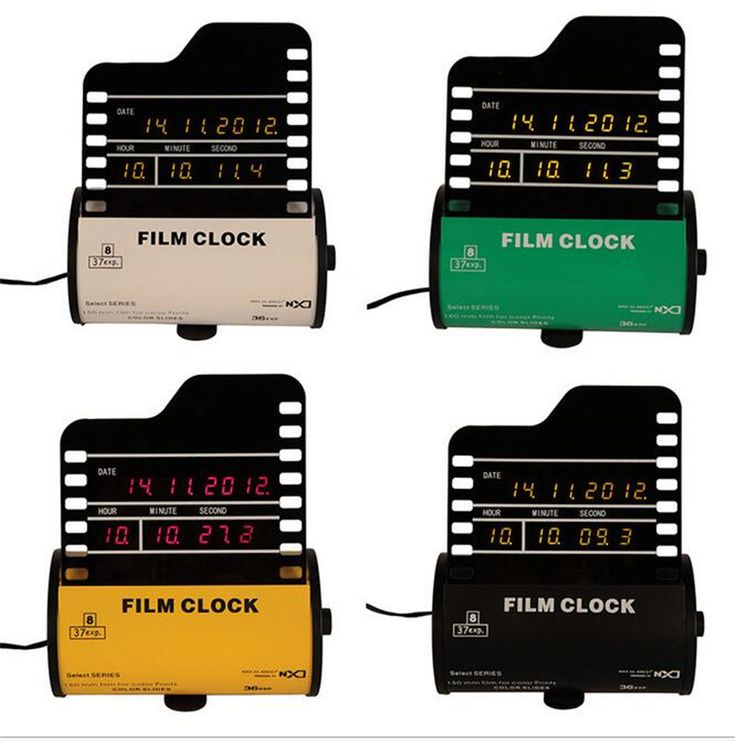 Creative Decoration Furniture LED Flim Bedside Desk Clock-C