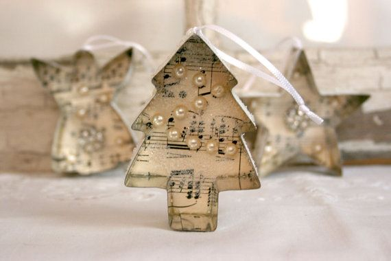 Vintage Cookie Cutter Ornament - Christmas vintage sheet music vintage jewelry glitter white cream victorian shabby chic cottage