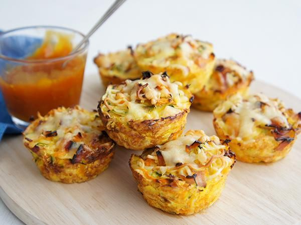 Vegetable Ham and Noodle Cups recipe - This is a kid's favourite for lunch boxes.