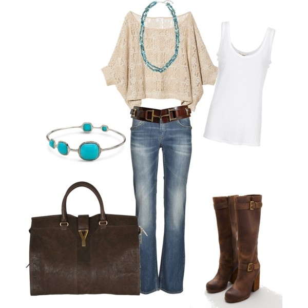 Cute and casual: Colors Combos, Fashion, Style, Clothing, Fall Outfits, Casual Outfits, Brown Boots, Bags, Belts