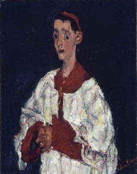 Chaim Soutine, L'enfant de coeur, Musée de l'Orangerie, Paris 2012 (en vrai le bleu nuit est magnifique !)  ...l'enfant de chœur surgit d'un fond bleu-nuit passé sur toute la toile et qui enserre par endroit, avec une maladresse volontaire, le blanc du surplis animé de traits rapides ou de taches hasardeuses de jaune, rouge, bleu ou vert. Le rouge de la robe est tout aussi agité par les sombres remontées du fond.