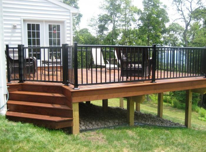 wood deck railing with metal balusters - Aluminum Deck Railing for ...
