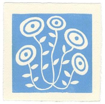 Wild Flower  linoleum block print by letterpresshabitat on Etsy, $8.00