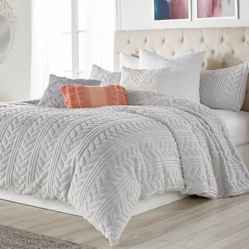Madilynn Cable Knit Sherpa Comforter Set