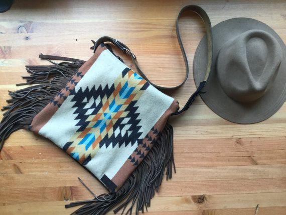 Bordées de Tan et Teal laine bandoulière sac à main en tissu de laine Pendleton, bourse de frange de