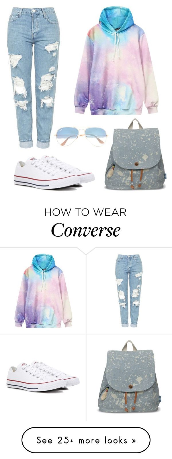 outfit of the day by suzyzorglos on Polyvore featuring Topshop, Converse, TOMS and Ray-Ban