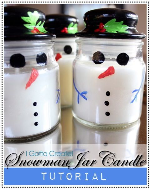 DIY Snowman Jar Candle Tutorial / You can use Dollar Store candles Here's the How to Link > http://igottacreate.blogspot.ca/2012/12/snowman-jar-candle-tutorial.html