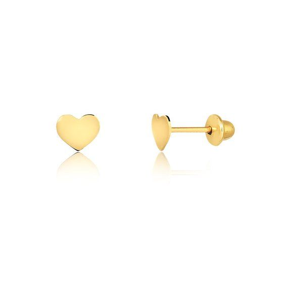 18k Solid Yellow Gold Heart Push Backs Stud Earrings for Babies and Girls
