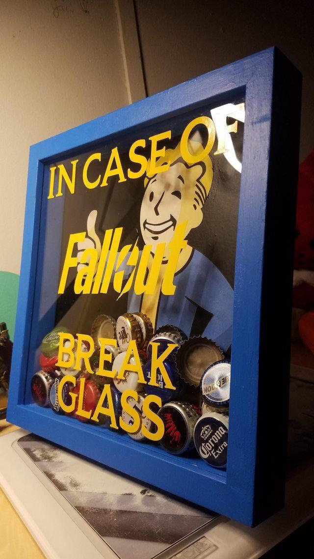 DIY Fallout 4 shadow box bottle cap emergency capsule. – Tiffany Arcand