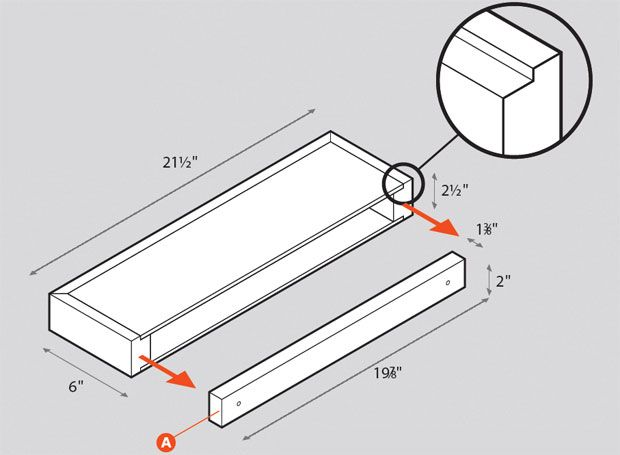 How to Build a Floating Wall Shelf (With Plans): Plans show how to build a hollow box and then attach it via a wall cleat. much easier and more forgiving than the usual way of slipping a sold board over rods inserted into wall studs.