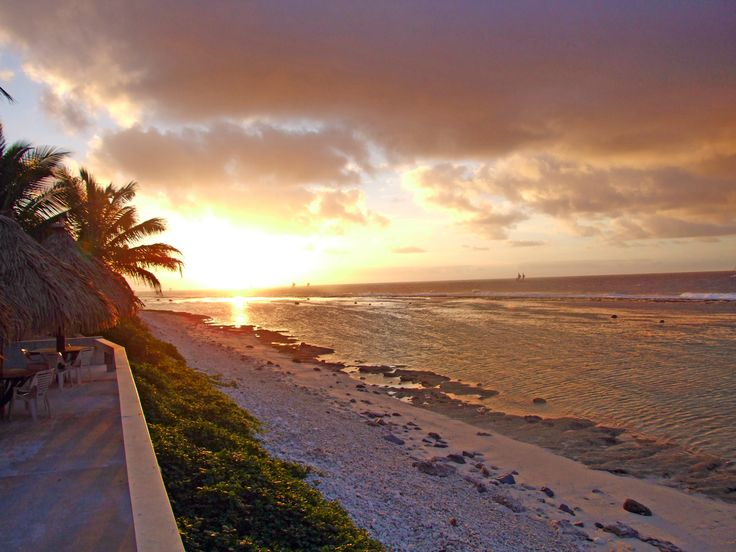 Coastal front beach view from Club Raro, Rarotonga, Cook Islands.