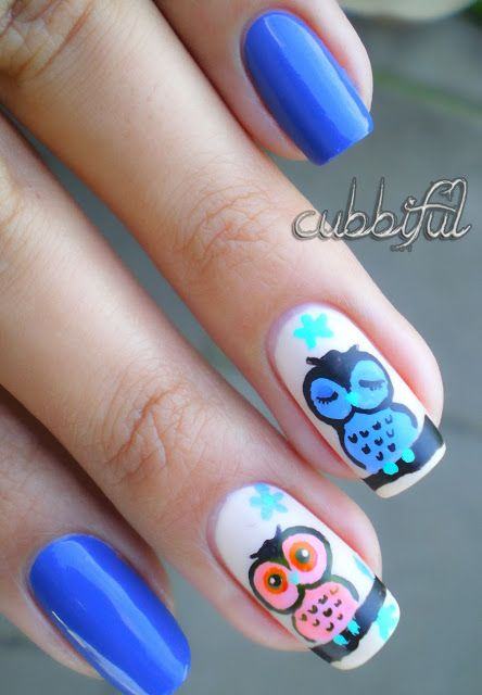 This Pin was discovered by Marleen Melad. Discover (and save!) your own Pins on Pinterest. | See more about owl nail art, owl nails and nail polish.