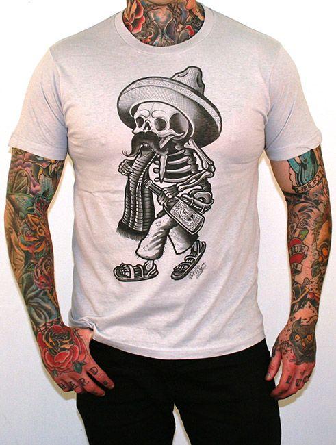 Borracho Skeleton Tattoo Art Tee Sombrero http://www.inkedboutique.com