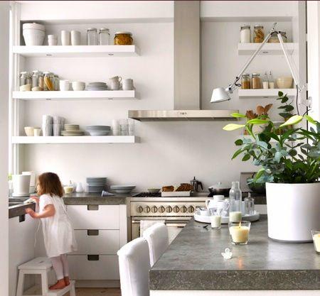 Open shelves in white kitchen