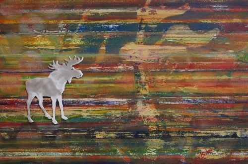 """'Moose On The Loose 1' by Uxbridge Ontario artist Lynn Bishop. """"I'm fortunate to…"""