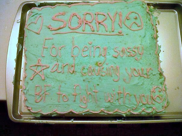 I may have accidentally caused a fight between a girl I work with and her boyfriend soo I made her an apology cake: Trays, Specific Apologize, Apologize Cake