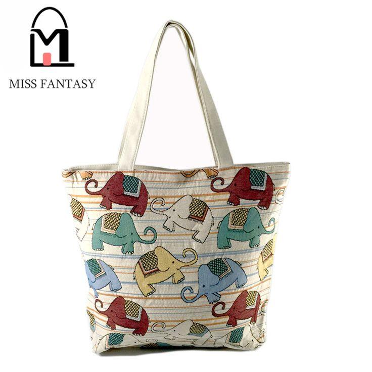 女性のバッグキャンバスハンドバッグ刺繍象プリントビーチショッピングバッグホワイト色ビッグトラベルショルダーバッグ