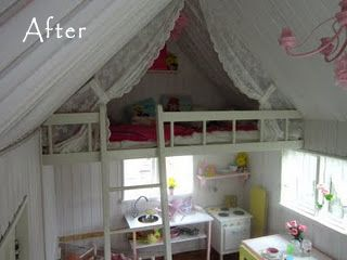 An entire blog of Playhouses! Love the curtains on the loft.