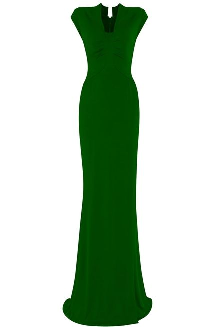 Stunning evening dress in a beautiful 1940s shade of green. An ultimate intense colour dyed in comparison to a 1940's glove. The fit of the dress is ultimate, it holds, lifts and flatters. The jersey has weight, a perfect drape and doesn't cling. It is a remarkable fit and with its gentle stretch is a good on-line purchase, as the fabric and shape works with your shape.  A vintage 1940s heritage dress with a modern strong perspective. Great for slick events, weddings parties and red carpet…