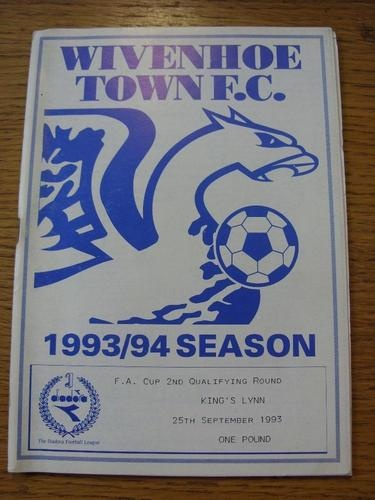 25/09/1993 Away vs Wivenhoe Town ,  Kings Lynn FC (FA cup)