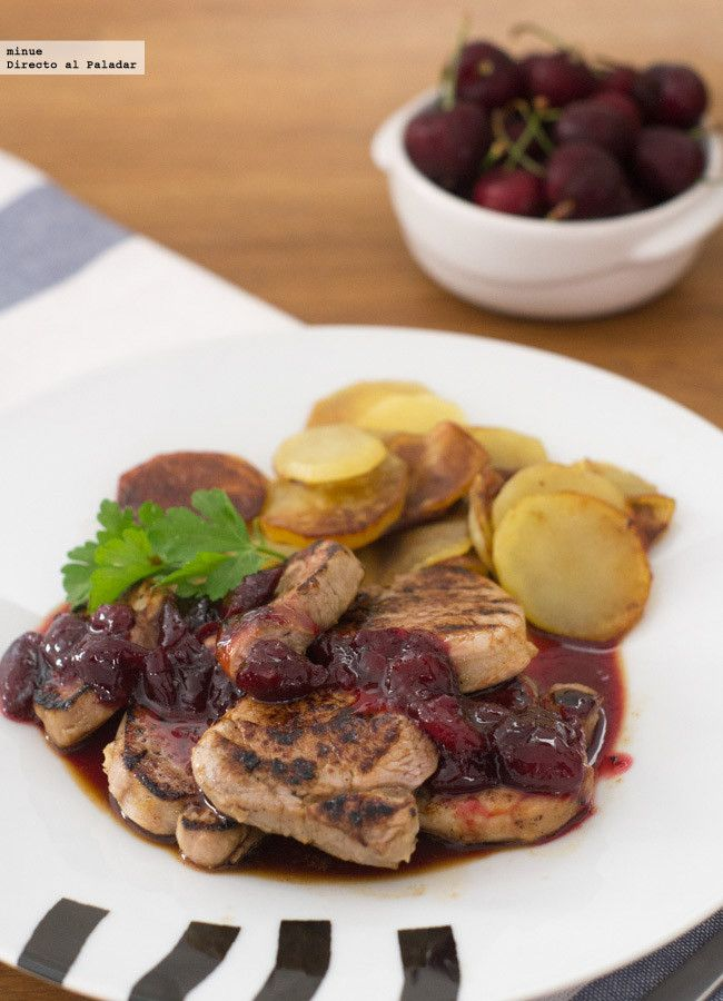 Receta de solomillo de cerdo con salsa de cerezas. Con fotos del paso a paso y la presentación. Trucos y consejos de elaboración. Recetas de carn...