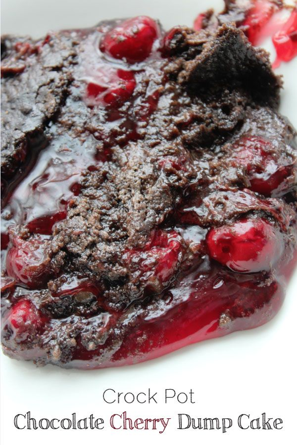 Crockpot Chocolate cherry dump cake; uses cherry pie filling, chocolate cake mix, and butter.