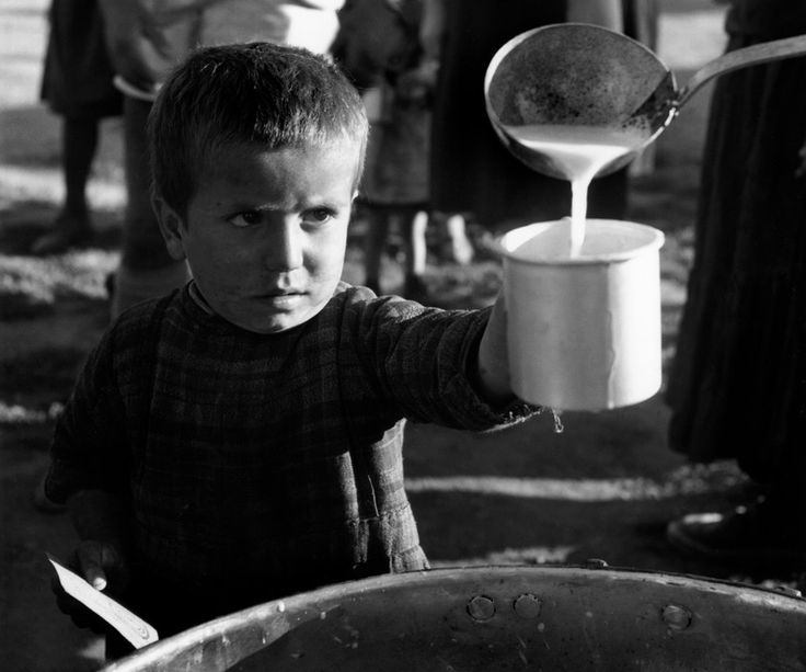 David Seymour  Ioannina. Refugees from the civil war areas. 1948. A little boy watches skeptically as he is poured UNICEF milk (reconstituted powdered milk) distributed for the first time at the refugee camp.