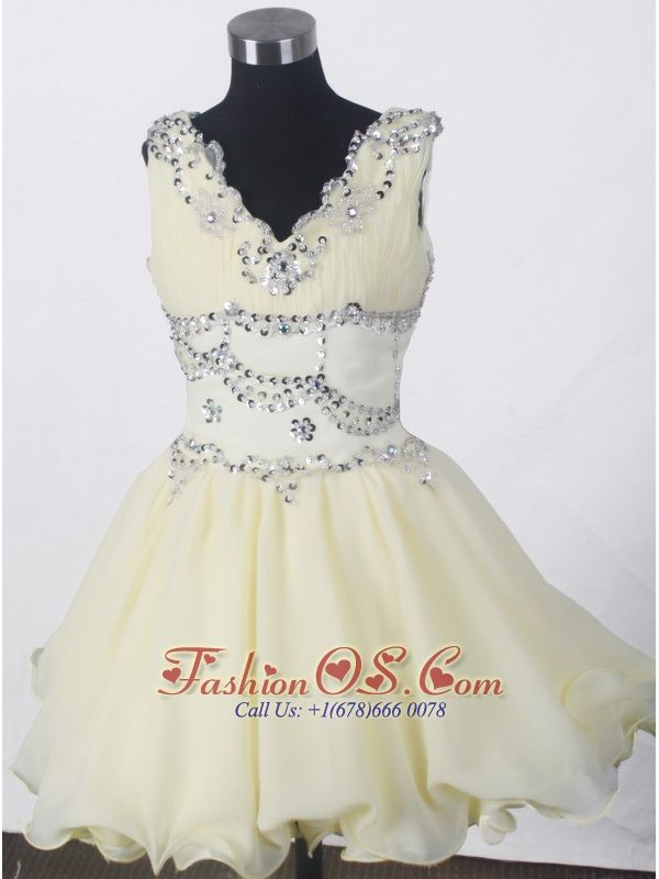 Beading Romantic A-line V-neck Mini-length Little Girl Pageant Dress- $142.69 www.fashionos.com | girls dresses boutique | 2016 hot sale cflickr pageant dresses for little girls | gorgeous pageant dresses for kids near canada | 2014 fall pretty flower girl pageant dress | zipper back girls pageant dresses | zipper up back toddler pageant dresses | short toddler pageant dresses |