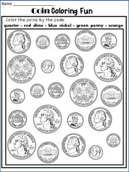 Money Worksheets: Coin Identification Worksheets and Poster | Dana's ...