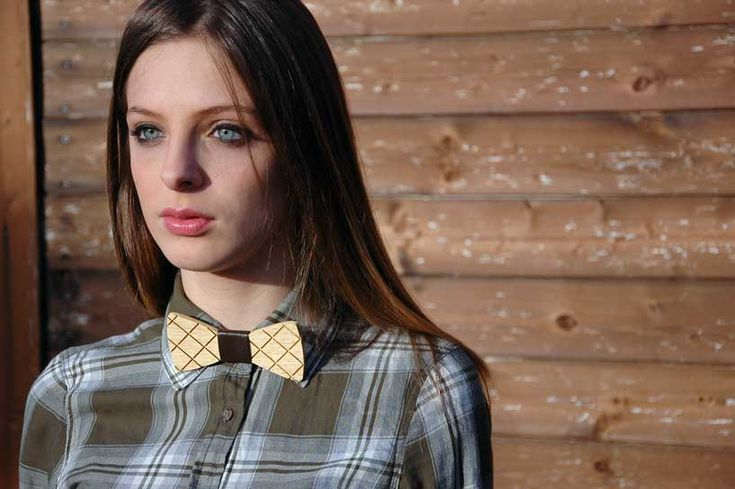 Wooden bow ties made from recycled flooring