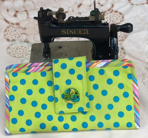 HandMade Polka Dot Wallet with Striped Bias Inside by PineyWoodGal, $40.00